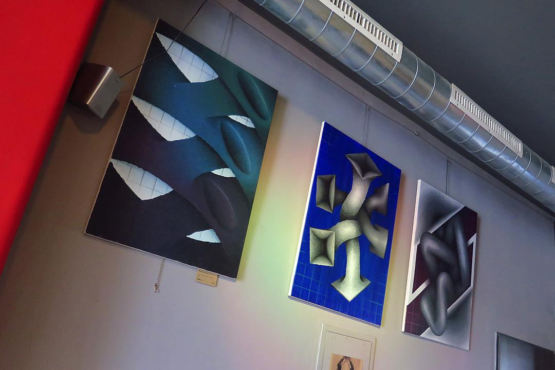 Composition 3x, acrylic and spray on canvas, 60x80 cm, 2018