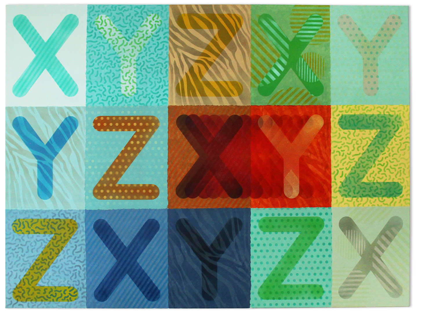 XYZ – spray, acrylic on canvas, 50×85 cm