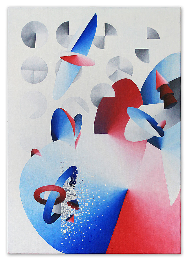 RED-BLUE composition – oil on canvas, 60x85 cm