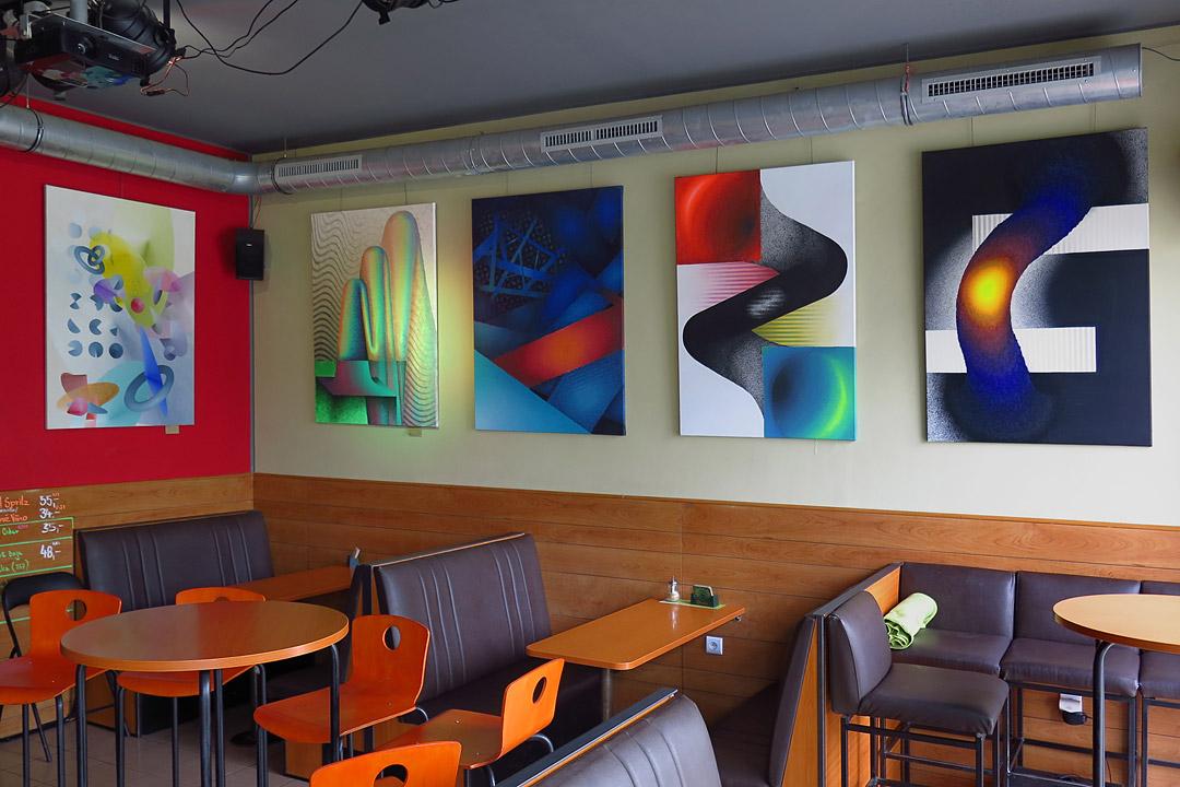 Composition 4x, acrylic on canvas, 90x130 cm, 2017