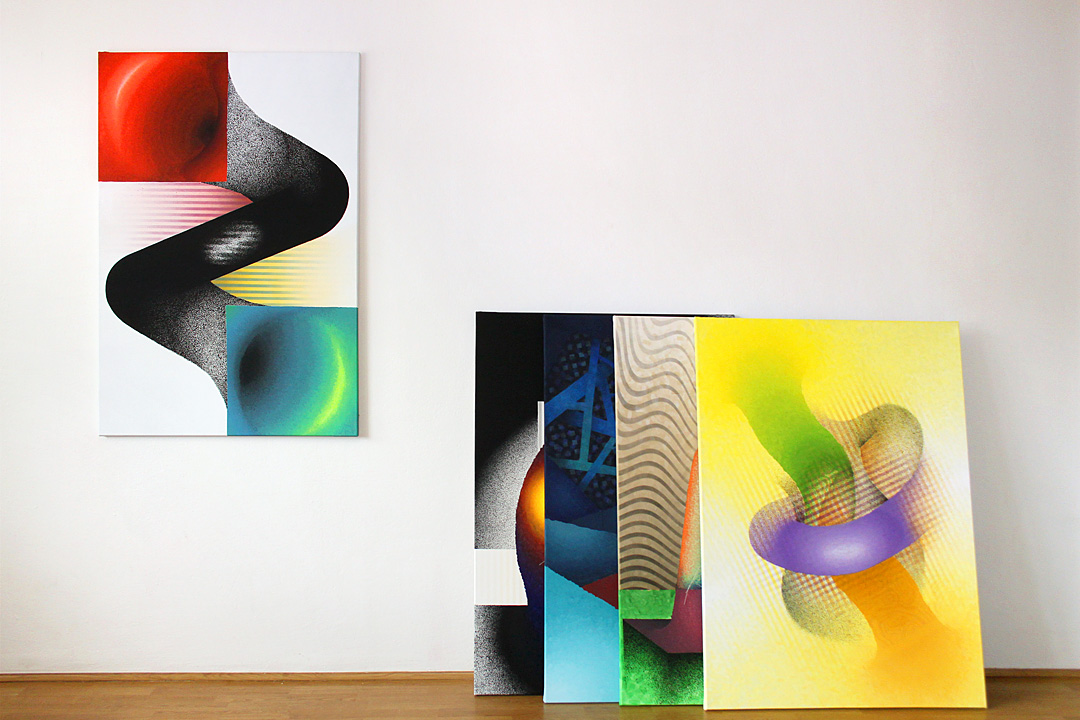 Untitled – spray, acrylic on canvas, 90×130 cm – 5x