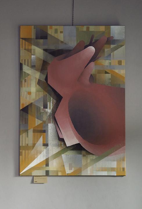 Composition 8, acrylic and spray on canvas, 70x100 cm, 2017