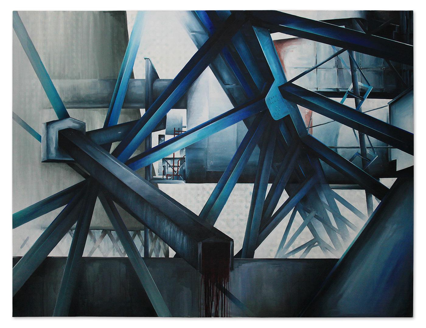 Urban composition – acrylic and spray cans on canvas, 200x150 cm